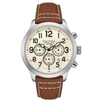 Nautica Men's 45mm Brown Leather Band Steel Case Quartz Analog Watch NAI14517G