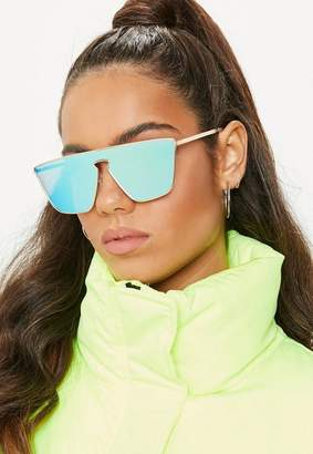 Missguided Gold Cut Out Visor Sunglasses