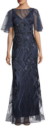 David Meister Flutter-Sleeve Embroidered Mesh Evening Gown