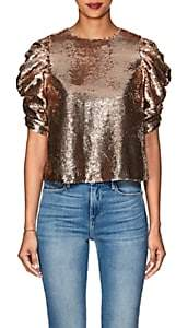 Ulla Johnson Women's Rae Metallic Sequined Blouse-Gold