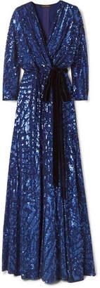 Jenny Packham Lamour Velvet-trimmed Sequined Silk-chiffon Wrap Gown - Navy