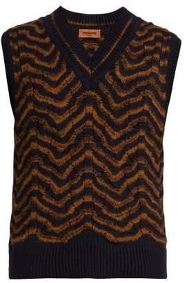 Missoni Wave Intarsia Wool Blend Vest - Mens - Navy Multi