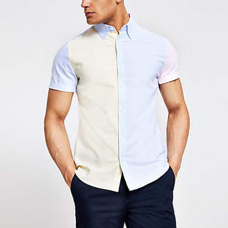 River Island Yellow pastel block slim fit shirt