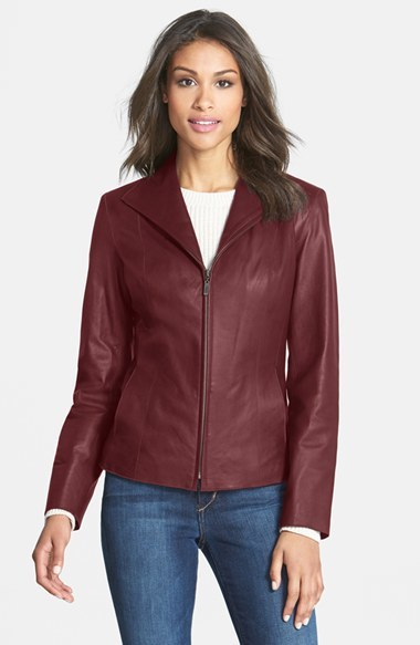 Cole Haan  Women's Cole Haan Lambskin Leather Scuba Jacket