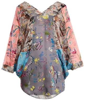 Vivienne Westwood Anglomania - Musa Batwing Sleeve Blouse - Womens - Blue Multi