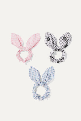 LoveShackFancy Kids - Penny Set Of Three Checked Cotton-voile Hair Ties - Pink