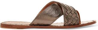 Bottega Veneta Metallic Intrecciato Textured-leather Slides - Anthracite