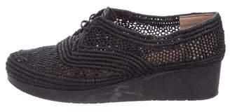 Robert Clergerie Raffia Wedge Sneakers