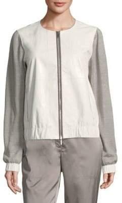 Lafayette 148 New York Aviana Leather Knit Jacket
