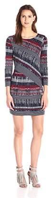 BCBGMAXAZRIA Azria Women's Verena Knit Zig Zag Stripe Dress