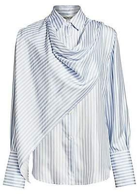Monse Women's Scarf Front Striped Shirt