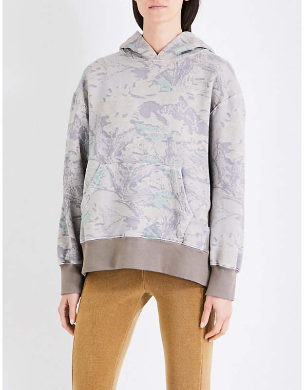 Yeezy Season 4 leaf-printed cotton-jersey hoody