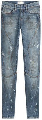 Faith Connexion Cropped and Distressed Skinny Jeans