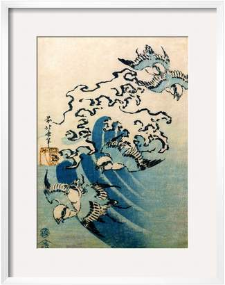 The Art Studio Waves and Birds, c. 1825 by Katsushika Hokusai (Framed)