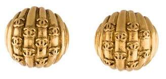 Chanel Sculpted CC Clip-On Earrings