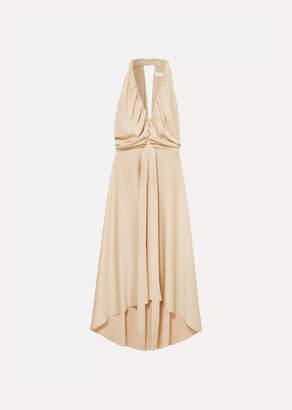 Chloé Belted Open-back Draped Satin Dress - Ivory