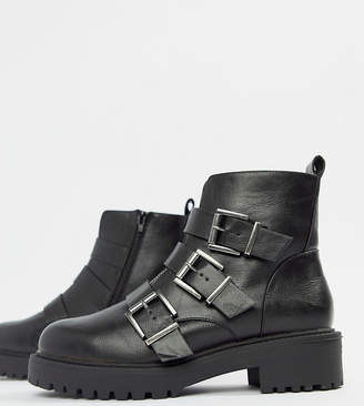 Asos Design DESIGN Wide Fit Arco chunky multi buckle ankle boots