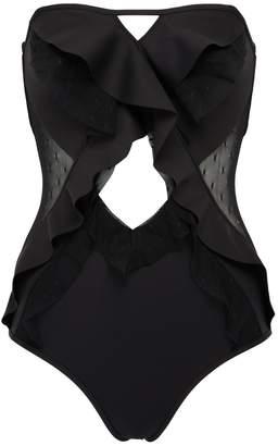 Zimmermann 'Juno' mesh panel ruffle cutout one-piece swimsuit