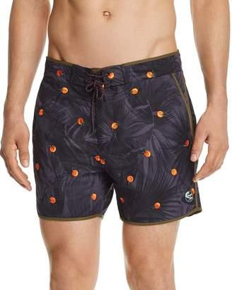 Scotch & Soda Orange-Print Swim Trunks