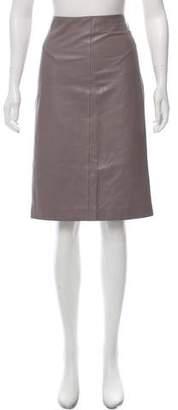 Valentino Leather Knee-Length Skirt