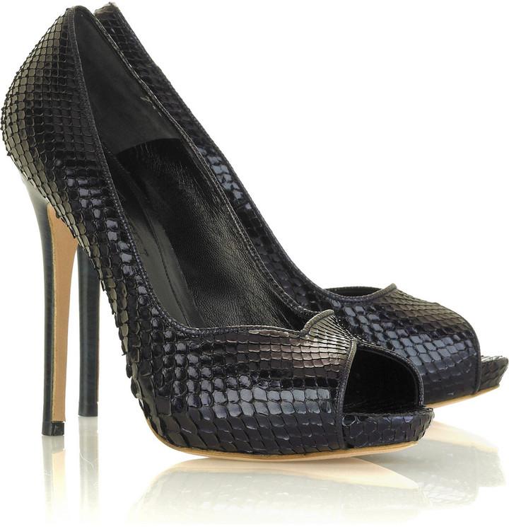 Alexander McQueen Python peep-toe pumps