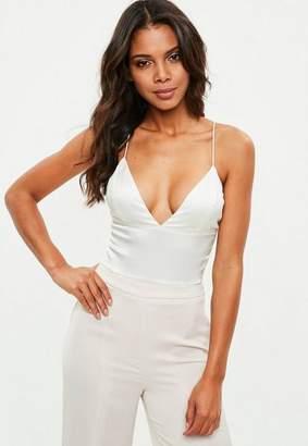 Missguided White Basic Satin Bodysuit
