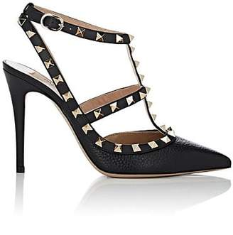 Valentino Women's Rockstud Leather Ankle-Strap Pumps - Black