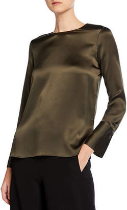Vince Crewneck Long-Sleeve Silk Blouse