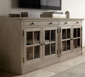 Pottery Barn Livingston Small TV Stand With Glass Doors