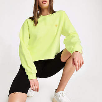 River Island Womens Neon yellow wasp embroidered sweatshirt
