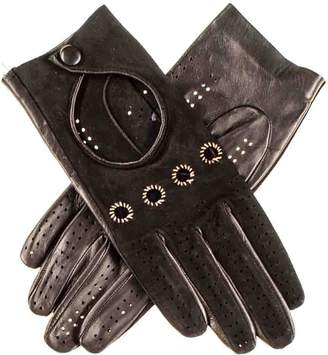 Black Ladies Suede and Leather Driving Gloves