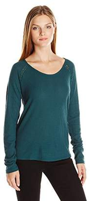 Lucky Brand Women's Lace Mixed Thermal Shirt