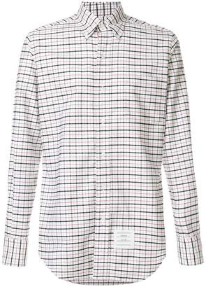 Thom Browne Classic Long Sleeve Point Collar Button Down Shirt With Grosgrain Placket In Windowpane Tartan Oxford