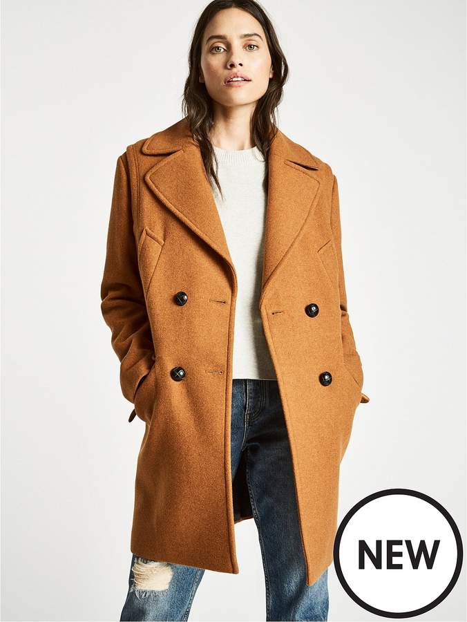 Henley Wool Blend Coat - Ginger