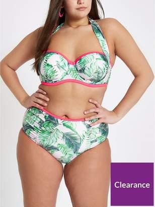 River Island RI Plus Ruched Halter Bikini Top - Palm Print