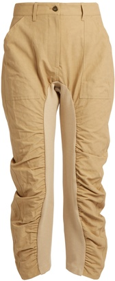 Tina ruched-leg cropped trousers