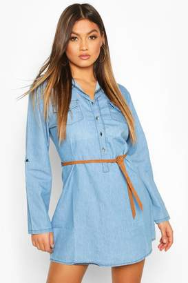 boohoo Denim Belted Button Front Shirt Dress