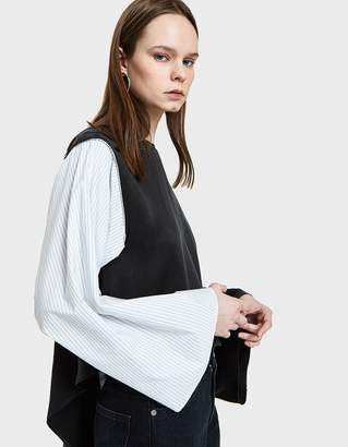 MM6 MAISON MARGIELA Cotton Stripe Wrap Shirt in Black