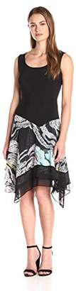 MSK Women's Asym Printed Knit to Woven Skirt Dress $28.64 thestylecure.com