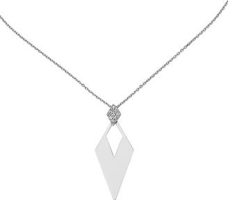 Italian Silver Diamond Shape Pendant w/Necklace, Sterling