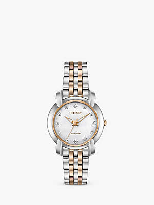 Citizen EM0716-58A Women's Jolie Eco-Drive Diamond Bracelet Strap Watch, Silver/Rose Gold