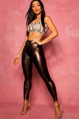 boohoo Alligator PU Leather Look High Waist Leggings