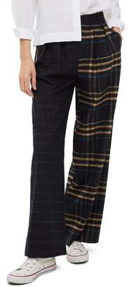 Topshop Sammy Mixed Check Wide Leg Trousers