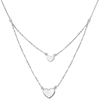Sterling Double-Heart Dangle Layered Necklace by Silver Style