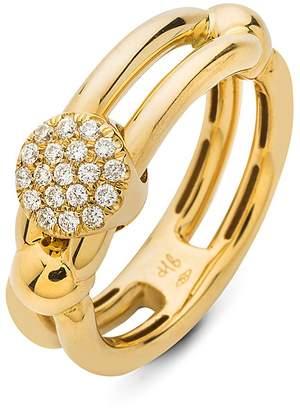 Hulchi Belluni 18K Yellow Gold Tresore Diamond Single Ring