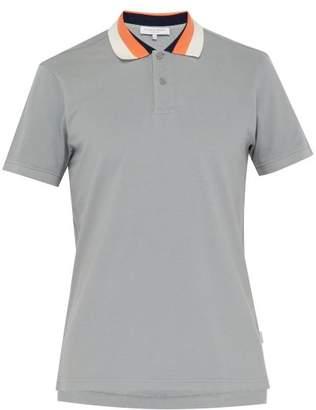 Orlebar Brown Jarrett Striped Collar Cotton Pique Polo Shirt - Mens - Grey Multi