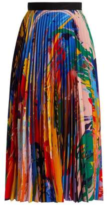 Mary Katrantzou Paint Splash Print Pleated Midi Skirt - Womens - Multi