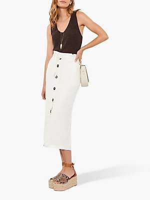 3ea1854015 Mint Velvet Button Pencil Skirt, Ivory