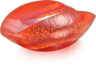 Murano Yalos Tango - Orange Swirl Glass Folded Dish