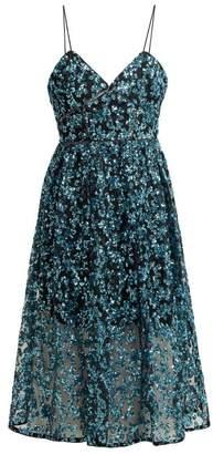 Self-Portrait Azaelea Sequinned Midi Dress - Womens - Blue